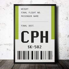 CPH airport poster print Typography Home wall decor by thePetur