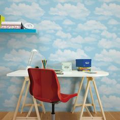 Graham & Brown Have your head in the clouds with this inspiring Cloud 9 x Wallpaper Roll. Perfect for creating fresh creative spaces this design will make any home brighter, even when it is raining. Cloud Wallpaper, Modern Wallpaper, Kids Wallpaper, Wallpaper Roll, Designer Wallpaper, Brown Wallpaper, Cloud 9, Peelable Wallpaper, Cloud