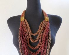 Turquoise Green Maroon Teal Dark Taupe Brown Color Long Crocheted Chains Necklace Lariat Bib with Turquoise Color Beads Turquoise Color, Teal, Crochet Necklace, Beaded Necklace, Metal Chain, Stone Beads, Lilac, Taupe, Dark