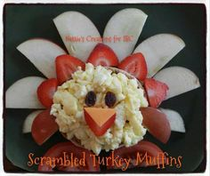 "Scrambled Turkey Muffins  If you are interested, here's the recipe.    Scrambled Turkey Muffins  What a cute idea for Thanksgiving morning or anytime   Serves 2  What you need: 1 Whole Wheat English Muffin (separate into two) 2 Whole Eggs (Or 6 egg whites) 2 Small Apples of Your Choice (Cut into Slices- for ""tail feathers"") 6-8 Strawberries (Washed & Cut into Slices- for ""feathers"") 2 Tomato Slices (Cut into Halves- for the ""feet"") 4 Dried Raisins (""Eyes"") 2 small pieces of your favorite che..."