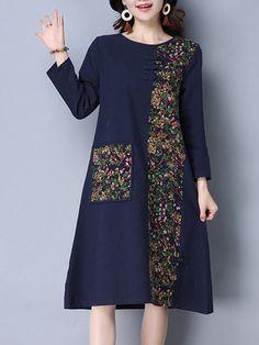 Vintage Women Patchwork Long Sleeve Pocket Spring Dresses