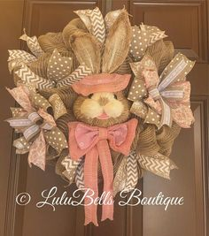 Perfect way to bring the holiday into your home! This rustic spring wreath measures approx 24 inches. #easter #spring #bunny #easterwreath #springwrearh #burlap #wreath #etsy #homedecor