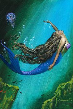 Fantasy Creatures, Mythical Creatures, Sea Creatures, Mermaid Artwork, Mermaid Drawings, Mermaid Paintings, Josephine Wall, Fantasy Mermaids, Mermaids And Mermen