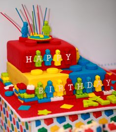 Cake at a Lego Party #lego #cake