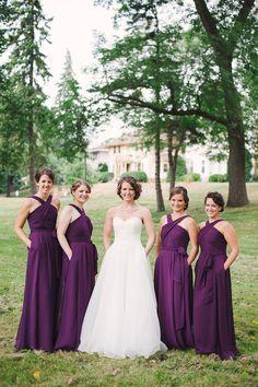 Long, chiffon purple bridesmaid dresses are super elegant for a traditional wedding!   Kennedy Blue