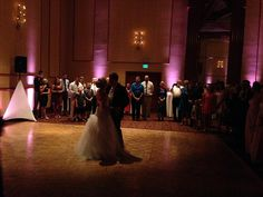 Blush uplighting makes for a great room backdrop in your photos! Here's the first dance at the Denver Athletic Club.