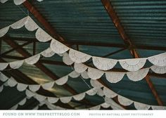 Paper doilie flags- DIY idea for wedding decor That's a different idea. Use lace or doilies elsewhere to tie in. Diy Wedding, Rustic Wedding, Wedding Day, Trendy Wedding, Wedding Reception, Reception Decorations, Real Weddings, Marie, Bridal Shower