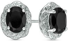 Zales Oval Onyx and 1/20 CT. T.w. Diamond Pinwheel Frame Stud Earrings in Sterling Silver IuCaPxu7jC