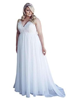 Heartgown Womens Plus Size Wedding Dress VNeck laceup Long Chiffon For Beach White US14W *** Details can be found by clicking on the image.
