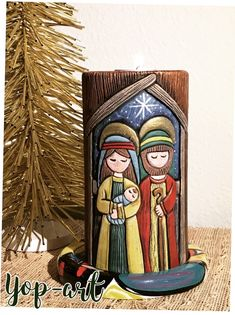 Christmas Nativity, Christmas Crafts, Small Wood Projects, Pottery Bowls, Tole Painting, Bottle Art, Hand Carved, Candle Holders, Art Deco