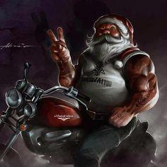 Peace Motorcycle Art, Bike Art, Motorcycle Humor, David Mann Art, Merry Christmas, Christmas Humor, Christmas Ideas, Black Christmas, Christmas Scenes
