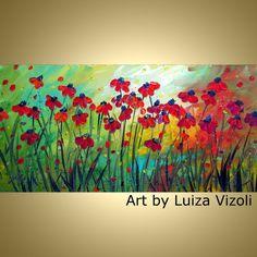 Original Modern Contemporary Floral Oil Painting by LUIZAVIZOLI, $250.00