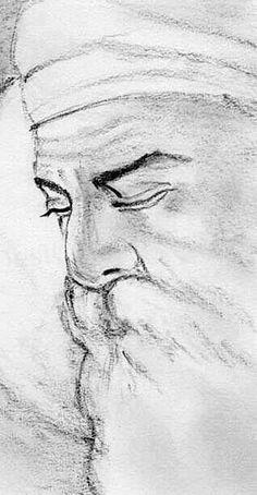 Painting of Guru Nanak Dev ji Maharaaj Guru Nanak Ji, Nanak Dev Ji, Religious Photos, Religious Art, Guru Nanak Wallpaper, Guru Nanak Jayanti, Pencil Drawings For Beginners, Guru Pics, Pencil Photo