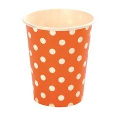 Gobelet carton orange à pois blancs les 10