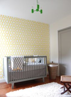 Vintage Modern Boys Nursery contemporary kids, wall stencil, Dwell bedding, hamper basket
