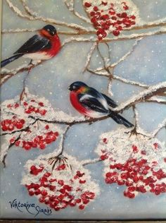 Snowing day. Originally painted canvas. Acrylic by Viktoriyasshop, $175.00