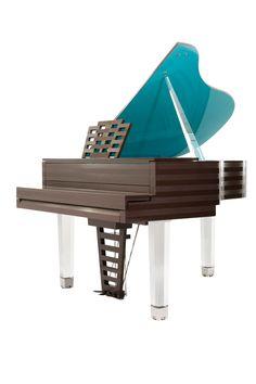 Vue 3/4 arrière du piano Pleyel Parallèle turquoise et chocolat design by Hilton McConnico.