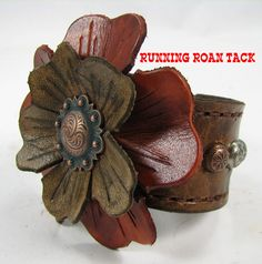 Vintage Scroll Leather Cuff Bracelet with Hand Dyed Leather Flowers by Running Roan Tack
