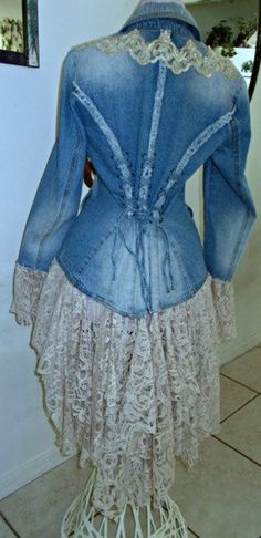 Sewing Clothes, Diy Clothes, Refashioned Clothes, Upcycled Clothing, Clothing Hacks, Diy Lace Jeans, Denim And Lace, Stevie Nicks, Corset