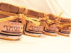 Honey favors with rustic toppers and raffia ribbon