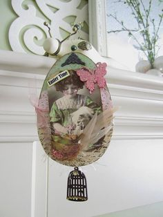 Easter Decoration - Vintage Style Easter Ornament - Victorian Easter Gift - Shabby Chic Easter, $21.00
