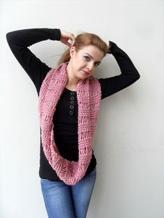 Loop Scarf Hooded Scarf in Rose Pink Blush by SmilingKnitting, $45.00