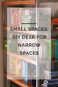 Small Space Living takes some serious creativity. See how we maximized our narrow space in our tiny apartment. By wraping the DIY shelves around the wall, we used every single inch of space. For this and other budget-friendly DIYs go to All Things Big And Small Blog!