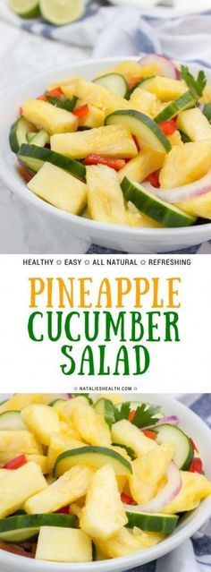 Pineapple Cucumber Salad with lime dressing