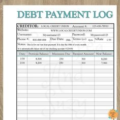 Savings Challenge Discover Debt Payment Log Debt Tracker Debt Snow Ball See your progress each time you log a payment! Fillable on computer! Debt Payment Log Debt Tracker Debt Snow Ball See your progress each time you log a payment! Budget Binder, Budget Planner, Monthly Budget, Planner Ideas, Mom Planner, Budget Spreadsheet, Planner Journal, Daily Journal, Bullet Journal