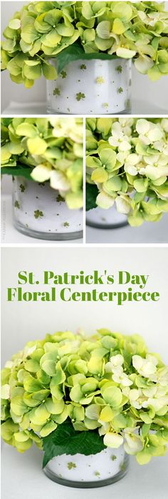 St. Patricks Day Tablescape:   DIY Shamrock Floral Arrangement Centerpiece using supplies from Walmart.