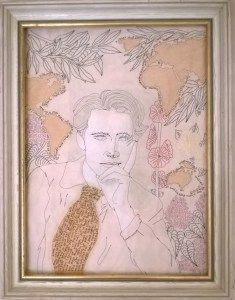 Rupert Brooke, hand and machine stitched portrait of First World War poet. Hand embroidered poetry from poem 'The Beginning' and 'The Soldier'. Made by textile artist Louise Underwood. Rupert Brooke, English Poets, British Soldier, Textile Artists, First World, Hand Stitching, World War, Portrait, Poem