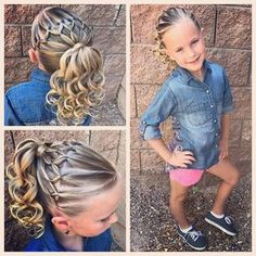 We did a fun elastics style for the day! I've done this style a couple time but today we added curls! so cute! #tinzbobenz #toddlerhair…