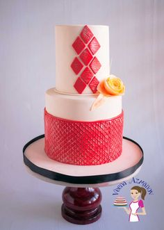 A cake decorating tutorial on how to make fondant dress ruffles and a standing heart cake topper. This Valentine theme fondant ruffles cake would make a Fondant Ruffles, Ruffle Cake, Valentine Theme, Cake Decorating Tutorials, Cake Tutorial, Cake Designs, Cake Toppers, Sequins, Swimming
