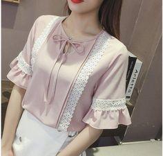 Bow lace chiffon shirt frenum Korean style shirt for women Cute Skirt Outfits, Summer Dress Outfits, Classy Outfits, Women's Fashion Dresses, Hijab Fashion, Blouse Styles, Blouse Designs, Chiffon Shirt, Lace Chiffon