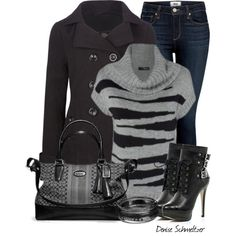 """Gray Sweater"" by denise-schmeltzer on Polyvore"