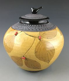 Dogwood Jar with Bird Knob II by Suzanne Crane (Ceramic Jar - Pottery Vase - Porcelain Dinnerware, Porcelain Ceramics, Painted Porcelain, China Porcelain, Ceramic Jars, Stoneware Clay, Ceramic Boxes, Kintsugi, Pottery Vase