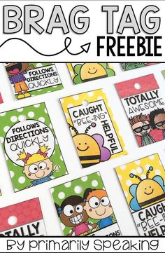Free brag tags! Download includes full color AND black & white versions of each design. Brag tags are a great classroom management tool for recognizing positive behavior and effort in the classroom.