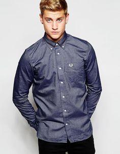 Cool Fred Perry Oxford Shirt In Slim Fit Dark Carbon - Dark carbon Fred Perry Plain til Herrer til enhver anledning