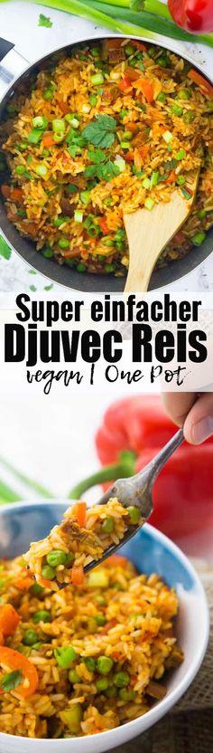 Super einfaches und leckeres Rezept für Djuvec Reis mit Erbsen und Paprika. Perfekt wenn es schnell gehen muss, da alles in einem Topf gekocht wird! Mehr vegetarische Rezepte auf veganheaven.de!