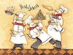 Art deco cuisiniers et maitres d'hotel - 3 chefs Kitchen Prints, Kitchen Wall Art, Food Illustrations, Illustration Art, Chef Pictures, Kitchen Pictures, Printed Glass Splashbacks, Fine Art Prints, Framed Prints