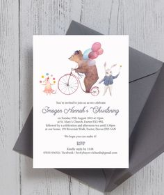 Circus Friends Personalised Christening / Baptism Invitations. Printed or Printable PDF