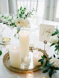Pillar candle table centerpiece #wedding #reception #decoration #white #good #silver #red #blue #yellow #pink #ivory #black #elegant #cheap #happy #boho #chic #ideas #trending #peach