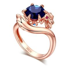 3.0 Ct  Rose Gold  Rhodium  Plated Sapphire Two  Dragons Designer... ($160) ❤ liked on Polyvore featuring jewelry, rings, sterling silver rings, rhodium plated rings, pink gold engagement rings, red gold engagement rings and sapphire jewelry