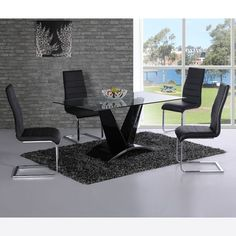 Vesta Clear Glass Dining Table With V Shape Black Gloss Base