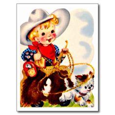 Petits cowboy et chien - rétro joyeux anniversaire carte postale