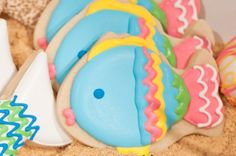 Decorated sugar cookies. Party Tip: spread crushed graham crackers in your serving trays to look like sand!