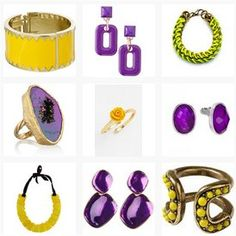 Purple and yellow jewellery pieces. See more here http://www.topfloor.com/mydesigns4you/1746 #jewellery #jewelry #ring #bracelet #fashion #mydesigns4you #topfloor #style #trend #stylehaul #necklace #earrings #statement #gem