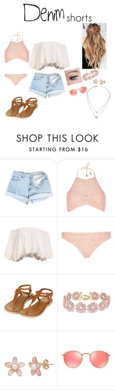 """Untitled #349"" by ilovevampirediarieslife ❤ liked on Polyvore featuring River Island, Topshop, BaubleBar, Ray-Ban, Michael Kors, jeanshorts, denimshorts and cutoffs"
