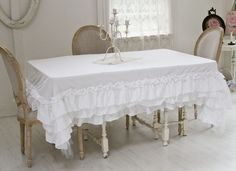 TuTu Ruffled Tablecloth EXCLUSIVE-Ruffled tutu tablecloth, shabby chic linens, cotton linens, tableware,