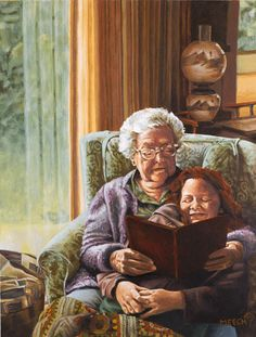 I would have loved to have had my grand and great-granddaughters and grandsons and great-grandson to ready books to. Images Gif, Grands Parents, The Golden Years, Grandma And Grandpa, Norman Rockwell, I Love Books, The Good Old Days, Black Art, Love Art